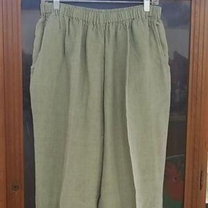 Flax Tops - FLAX Women 100% Linen Shirt Crop Pants Set Sz S/M